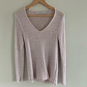 Contempaoraine Blush Knit V Neck Sweater.